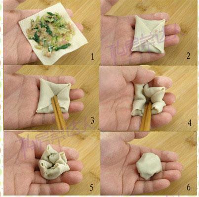 6种漂亮花样馄饨包法 图解包馄饨详细步骤
