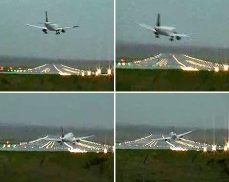 当飞行员试图第一次降落时