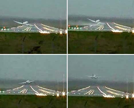 飞机 据了解,当飞行员试图第一次降落时,由于大风导致飞机左翼不慎刮