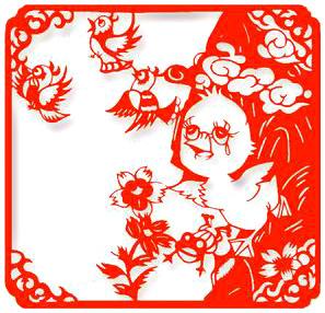4幅安徒生童话剪纸作品邮票   作品《霸王别姬》   作品:《泰山迎客松