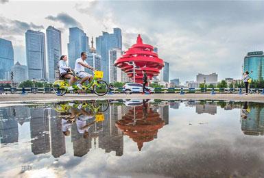 雨后的青岛艺术感爆棚 连倒影都美得不可方物!