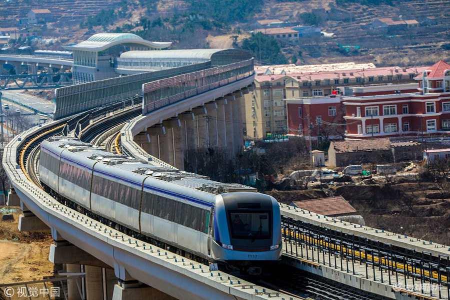 """青岛:探访地铁11号线 见证中国沿海""""最美地铁线"""""""