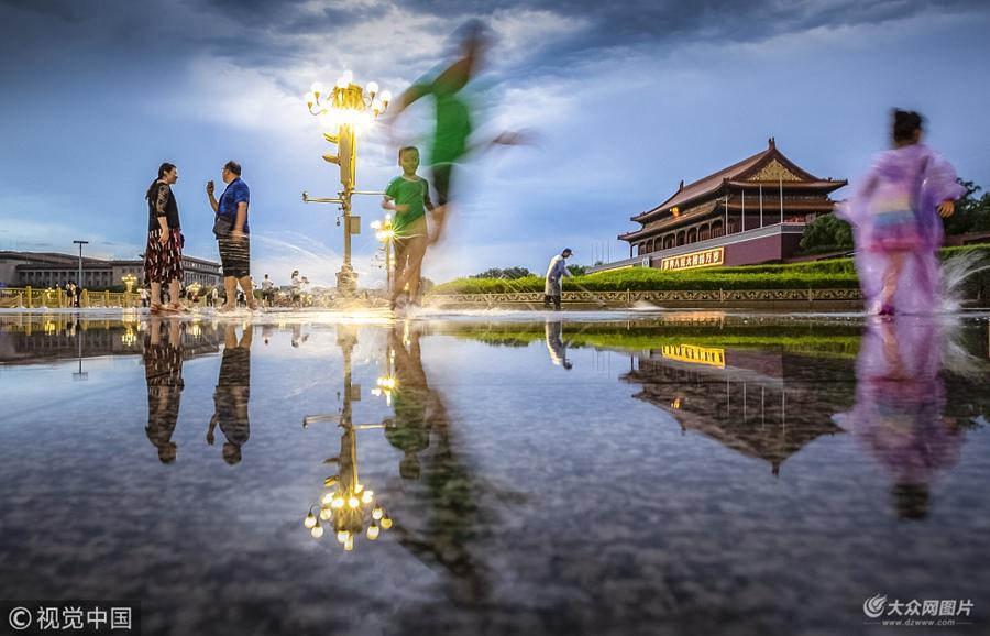 北京暴雨过后  天安门广场景色如画