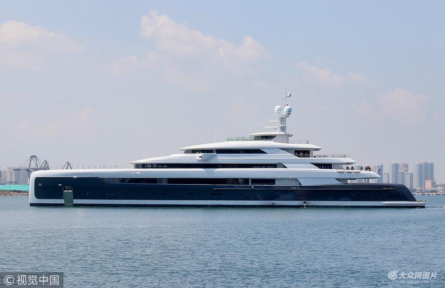 亚洲最大超级游艇启航  从山东烟台驶往摩纳哥