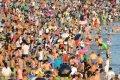 """2018年8月16日,台风过后山东青岛高温酷暑持续,据天气网信息,当日最高温度达34℃,海滩游客密集,洗海澡成""""避暑游""""第一选项,每天数十万人涌入各大海水浴场享受夏日清凉。"""