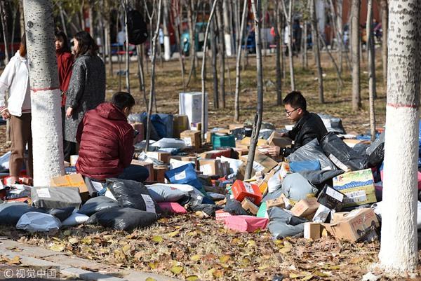 滨州:高校快递堆出小山 小树林被临时征用为快递派件点