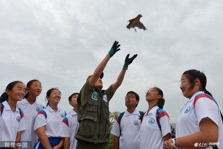 2019年9月15日,澳门金沙城中心官网,学生们利用中秋假期与野生动植物保护协会的老师在城阳区墨水河湿地一同放飞救护的红隼。