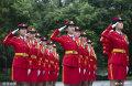 2019年9月15日,重庆,西南大学学生女子国旗班的队员们开始新学期训练。