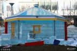 """2019年1月4日,辽宁沈阳,""""冰屋""""餐厅现身街头,吸引不少市民目光。据了解,特色""""冰屋""""餐厅有三座,每座冰屋餐厅约用500块冰砖堆砌建成。"""